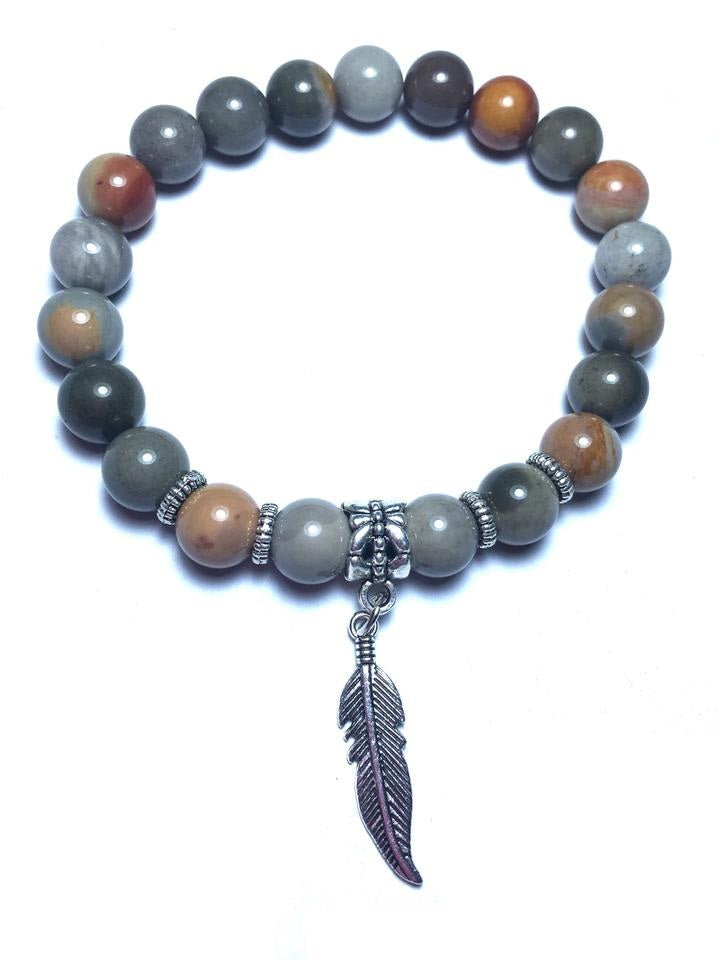Jasper Feather Charm Healing Gemstone Healing Bracelets