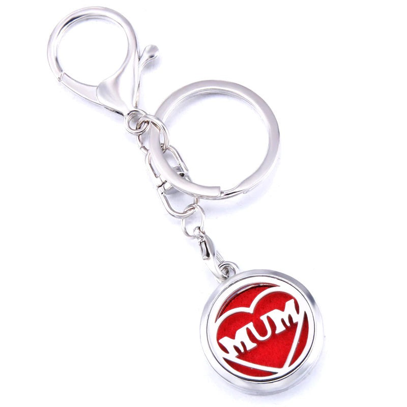 Essential Oil Key Ring Aromatherapy Mum Love Silver Keyring