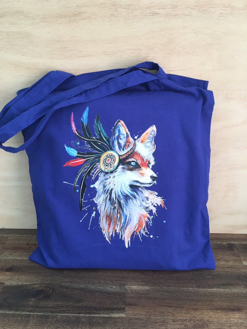 Cotton Carry Bag PRETTY FOX Shopping Shoulder Bag Eco Friendly