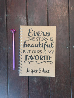 PERSONALIZED Love Story Note Book Journal Diary Journal Memory Love Diaries and Journals Keepsake