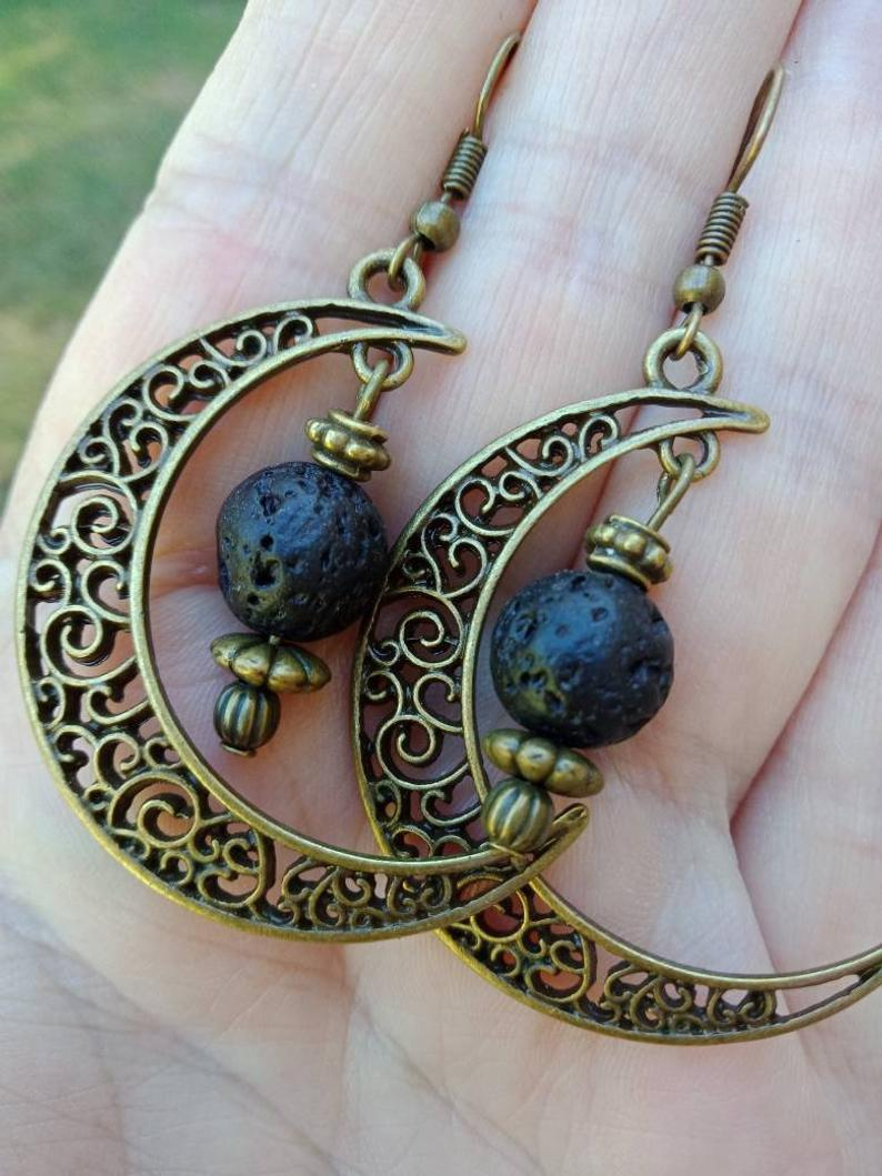 Lava Earrings Oil Diffuser Earrings Filigree Half Moon Earrings