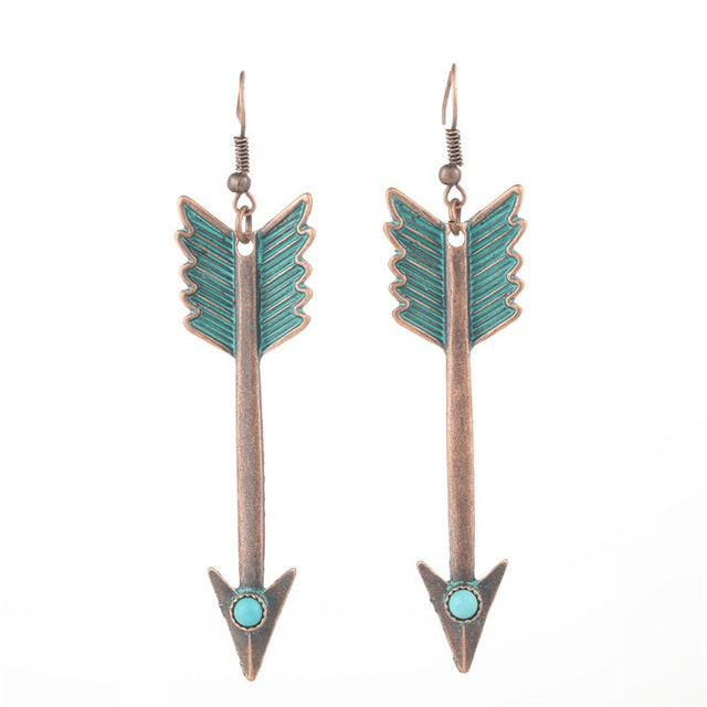 Feather Arrow Earrings Patina Bohemian Turquoise Earrings
