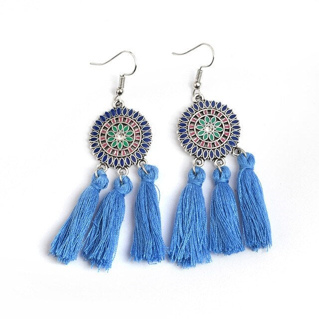 Blue Royal Round Drop Tassel Boho Hook Earrings