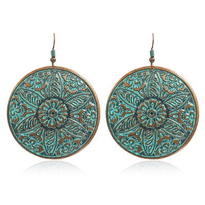 Bohemian Copper Patina Disc Round Drop Earrings