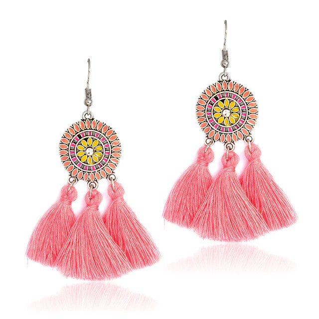 Pale Pink Round Drop Tassle Boho Hook Earrings