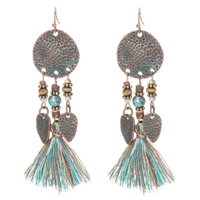 Boho Tassel Hammered Drop Copper Stone Earrings