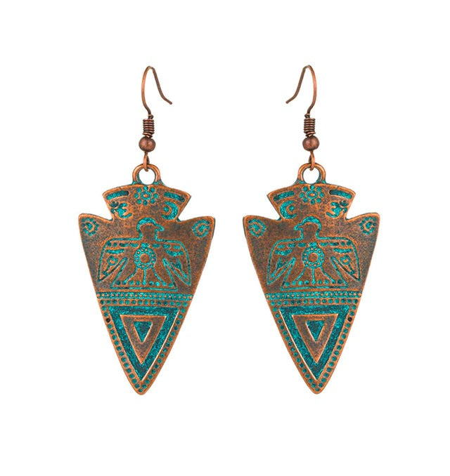 Arrowhead Native Patina Bohemian Brushed Bronze Earrings