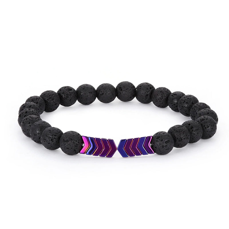 Hematite Arrow Gemstone Lava Stone Bracelet Purple