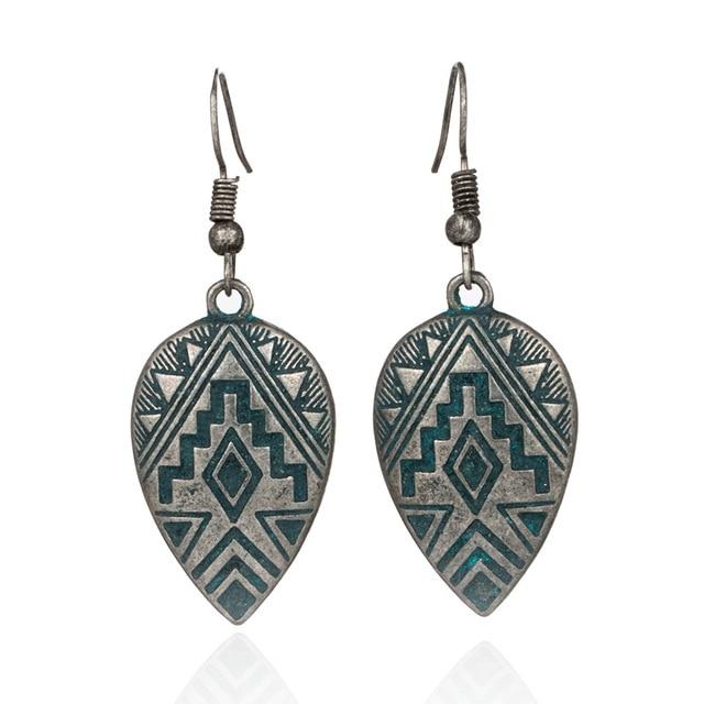 Bohemian Drop Silver Boho Vintage Aztec Earrings