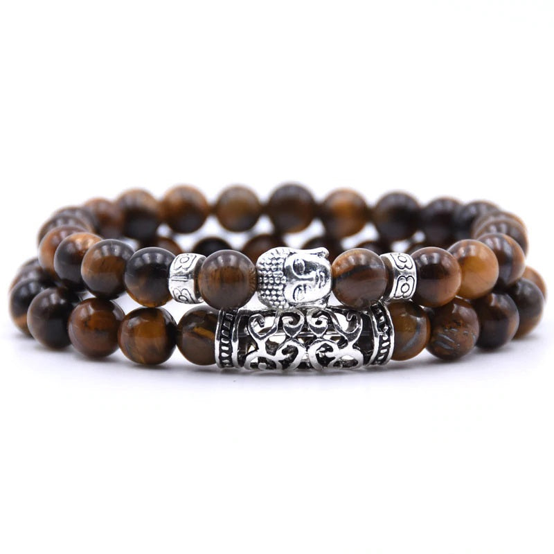 Buddha Charm Tigers Eye Double Stack Gemstone Bracelets