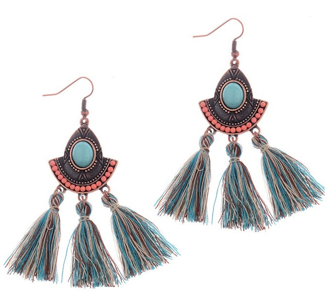 Boho Tassel Aztec Drop Copper Stone Earrings