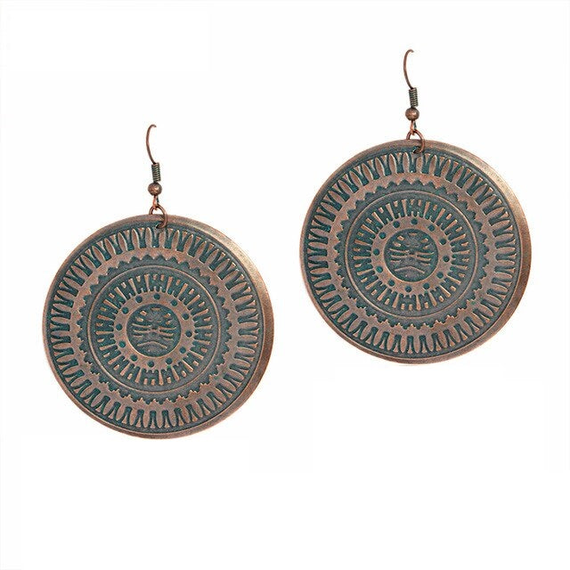 Bohemian Copper Disc Round Drop Earrings