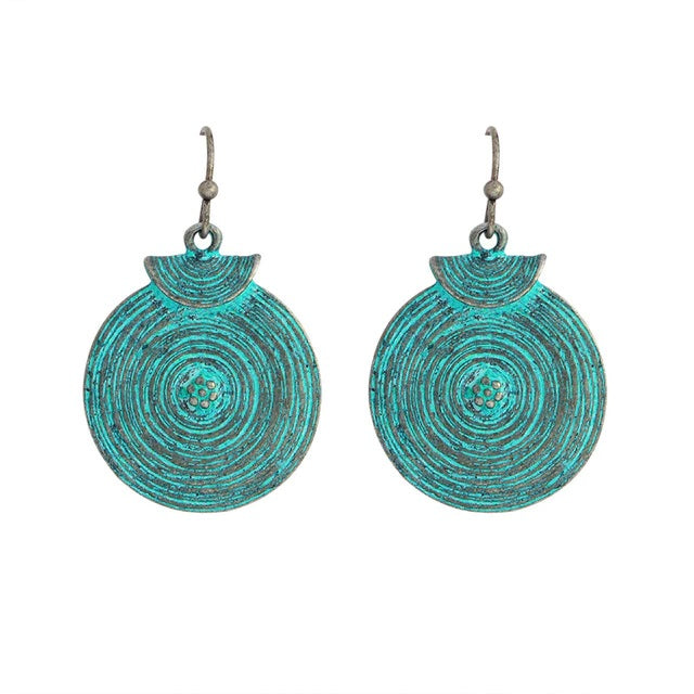 Bohemian Drop Round Patina Blue Boho Earrings