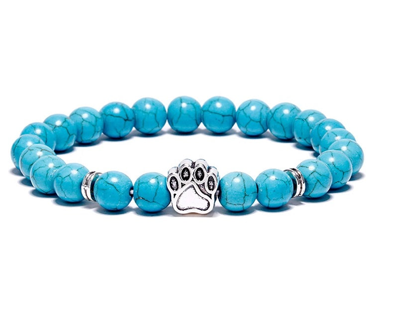 Paw Print Gemstone Beaded Bracelet Blue Howlite
