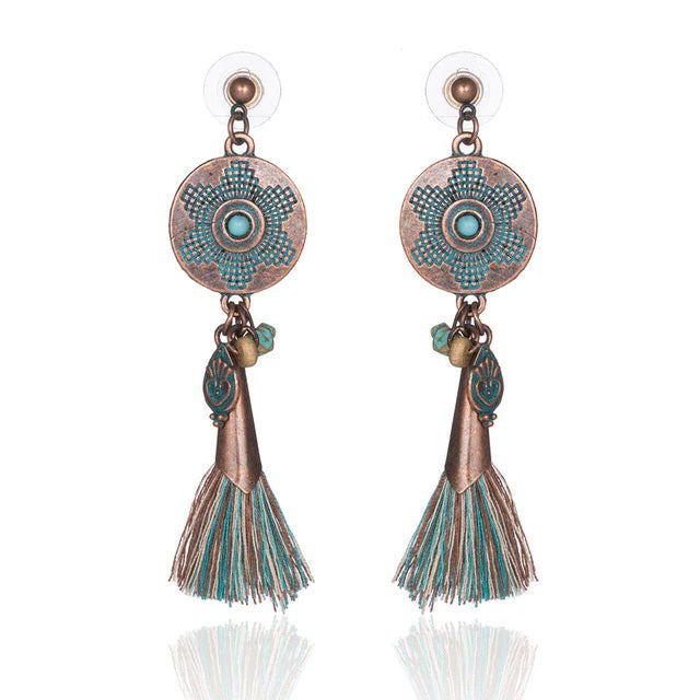 Boho Tassel Round Copper Stone Earrings