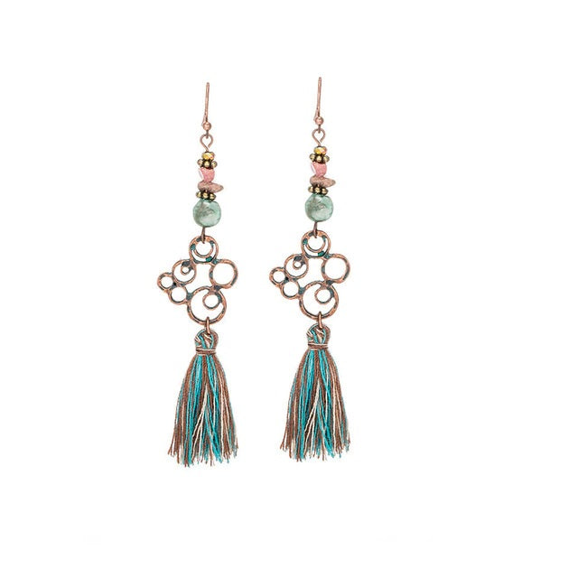 Bronze Boho Tassel Drop Hippie Earrings
