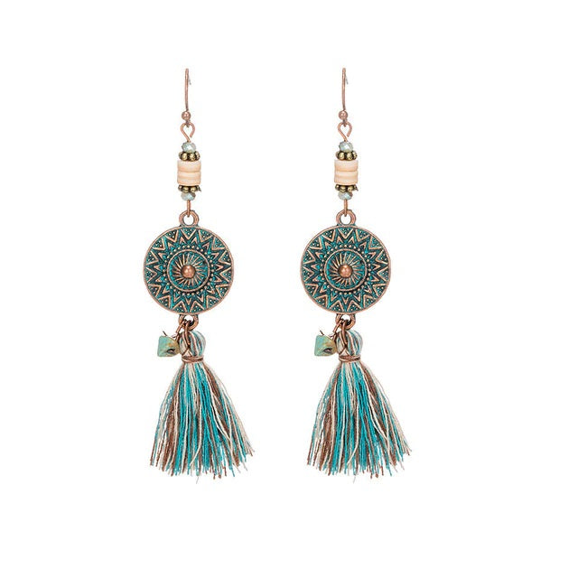 Boho Tassel Antique Bronze Round Earrings