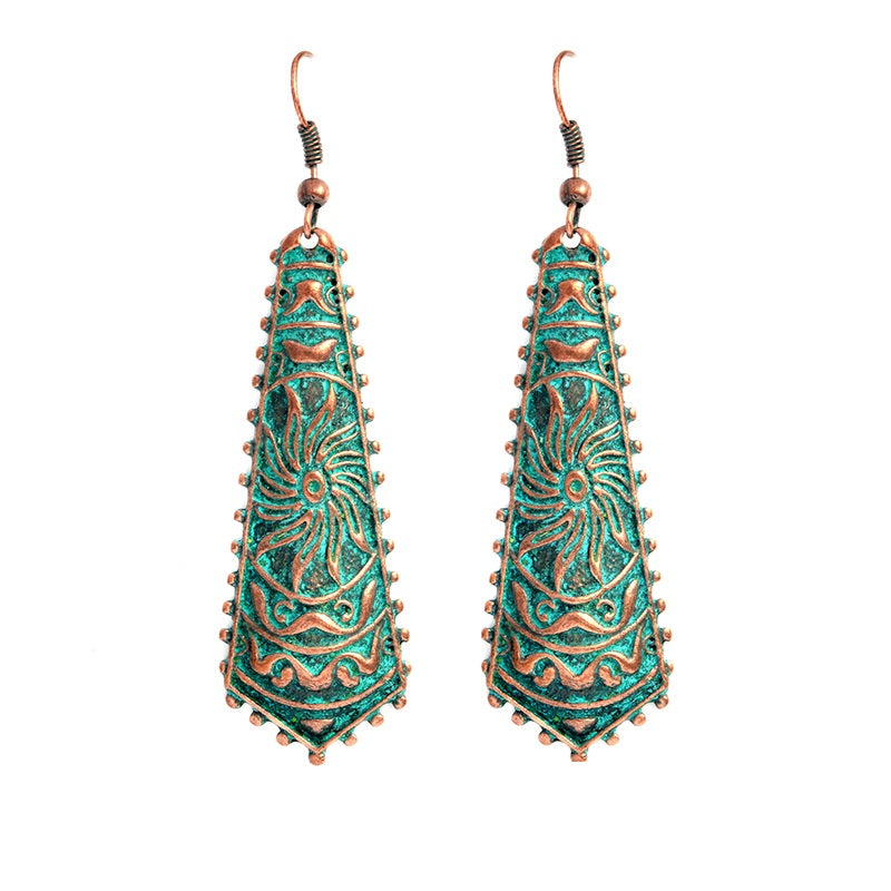 Bohemian Drop Patina Dangle Boho Earrings