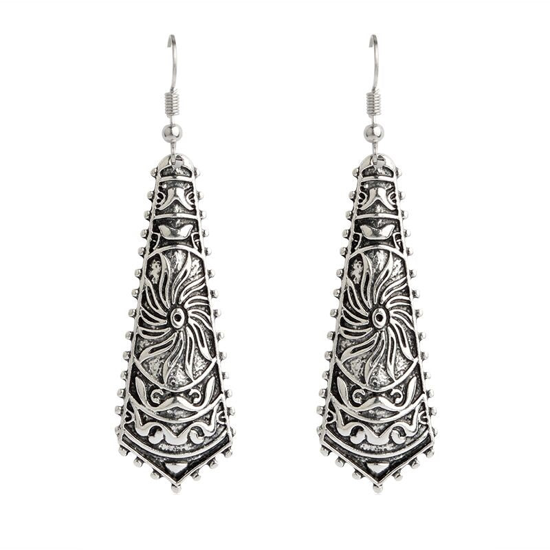 Bohemian Drop Silver Dangle Boho Earrings