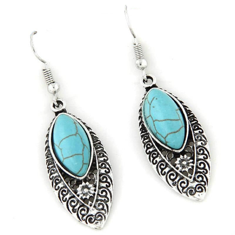 Turquoise Filigree Silver Boho Scroll Dangle Earrings