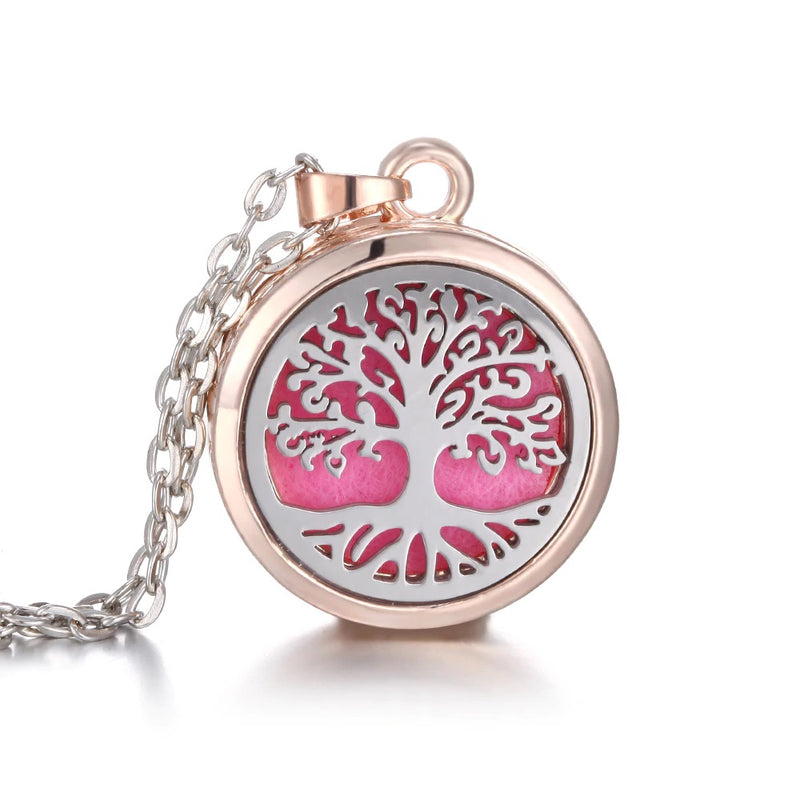 Essential Oil Aromatherapy Pendant Silver Rose Gold Tree of Life