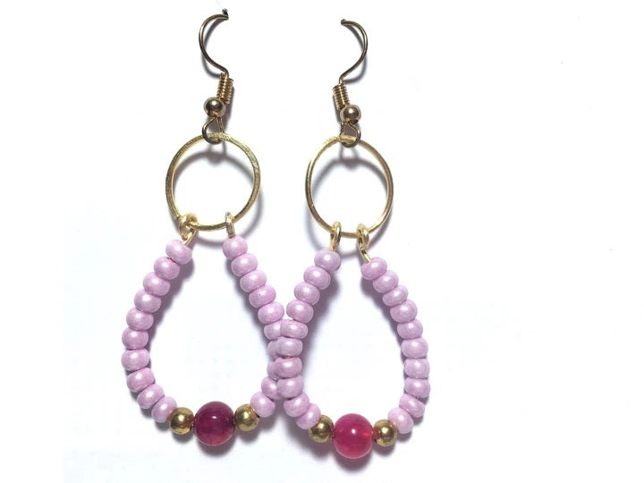 Pink Czech Oval Hoop Agate Gemstone Earrings