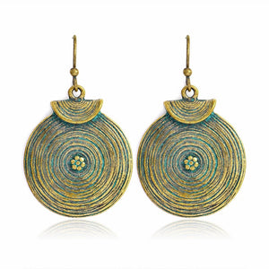 Bohemian Mustard Drop Round Patina Boho Earrings