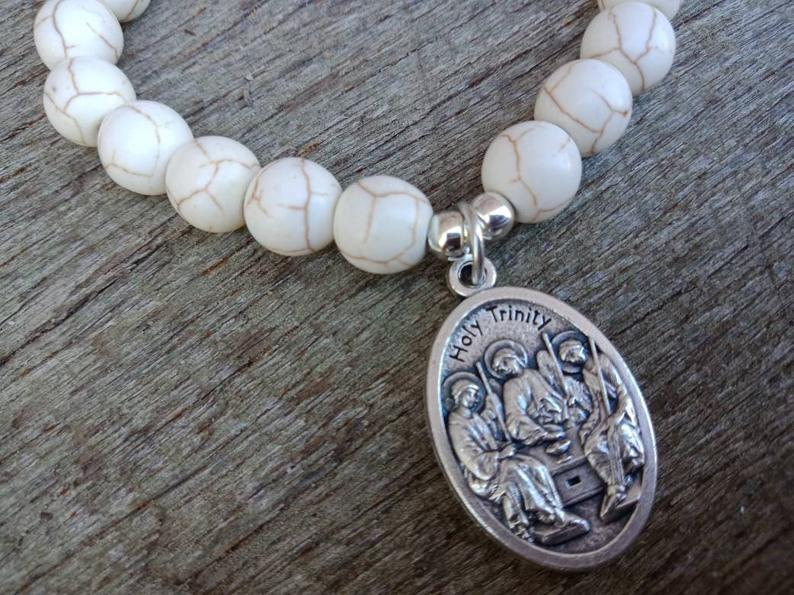 The Holy Trinity Bracelet Howlite Catholic Holy Trinity Bracelet