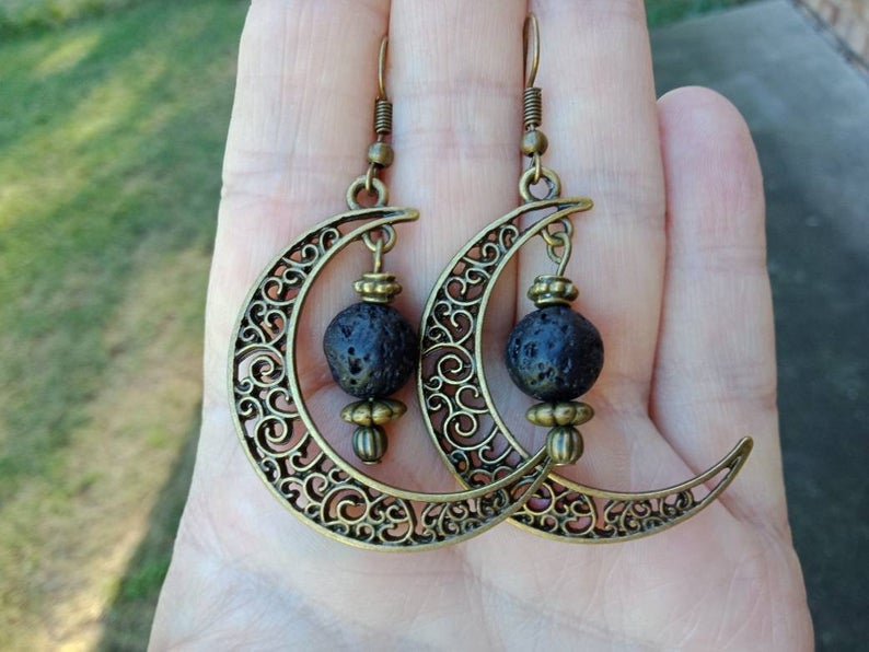 Essential Oil Half Moon Filigree Lava Earrings