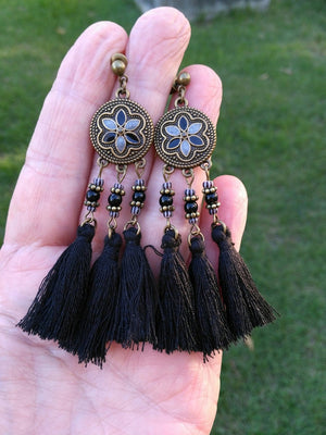 Boho Flower Tassel Antique Bronze Drop Earrings