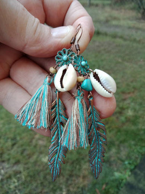 Boho Conch Shell and Leaf Tassel Earrings