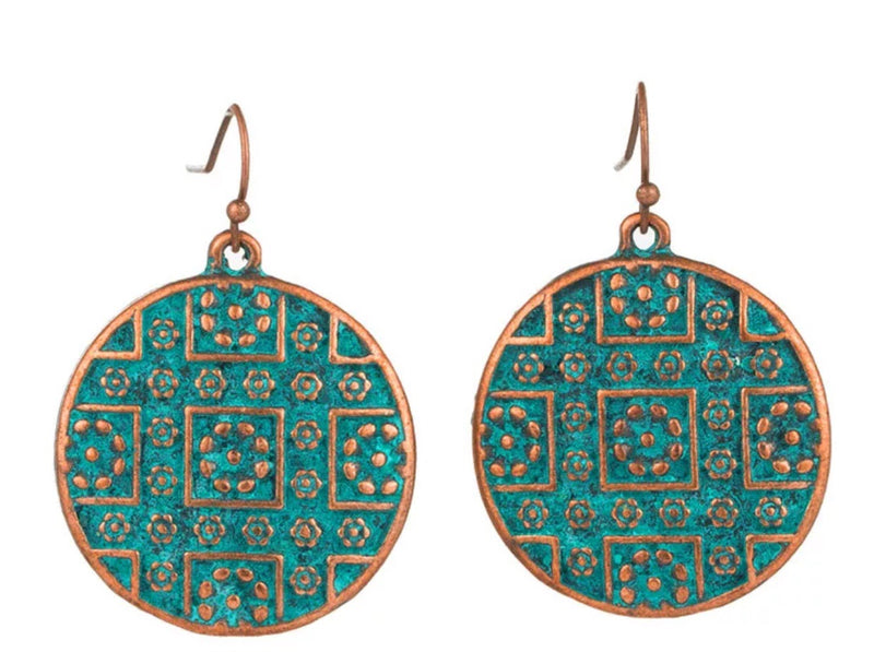 Copper Disc Drop Patina Round Earrings