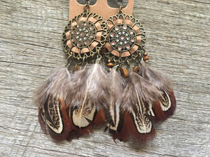 Bronze Dream Catcher Feathered Earrings