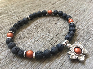 Bronze Lotus Essential Oil Anxiety Stress Lava Beaded Bracelet