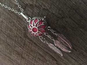 Dream Catcher Feather Flower Aromatherapy Cage Pendant