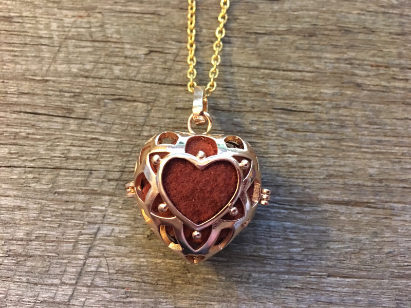 Essential Oil Aromatherapy Cage  Gold Heart Pendant
