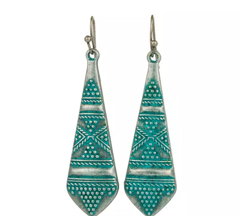 Patina Native Drop Earrings Bohemian Brushed Silver Earrings