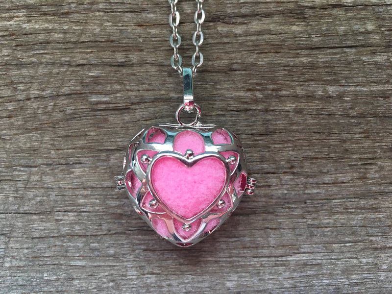 Essential Oil Aromatherapy Cage Silver Heart Pendant