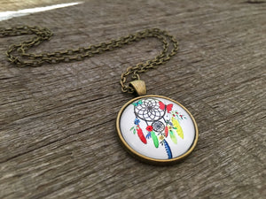 Dream Catcher Pendant Antique Bronze Boho Necklace