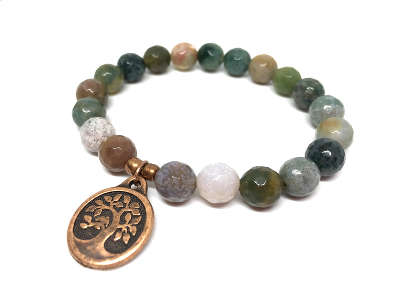 Tree of Life Beaded Bracelet Indian Agate