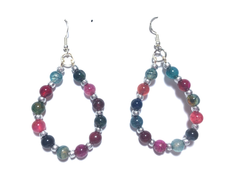 Dragon Vein Agate Hoop Healing Earrings