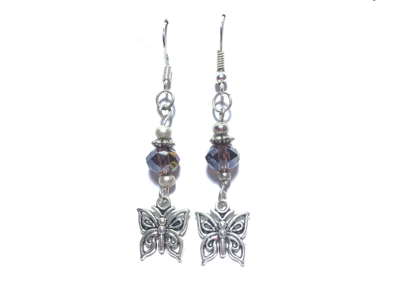 Butterflies Czech Crystal Iris Faceted Earrings