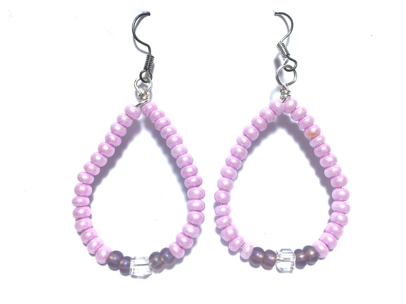 Pink Oval Handmade Czech Crystal Earrings