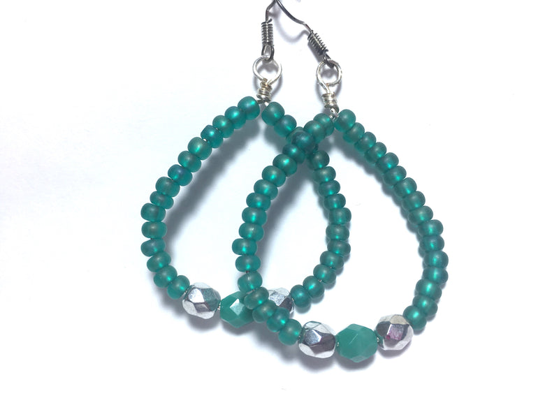 Emerald Hoop Glass Handmade Czech Crystal Earrings