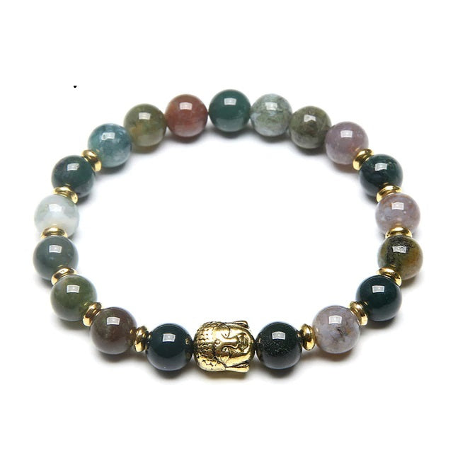 Buddha Gemstone Beaded Bracelet Indian Agate