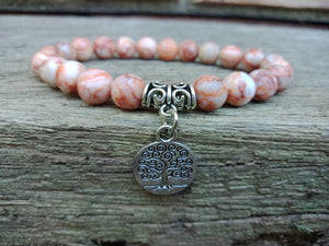 Tree of Life Charm Red Vein Jasper Gemstone Bracelets