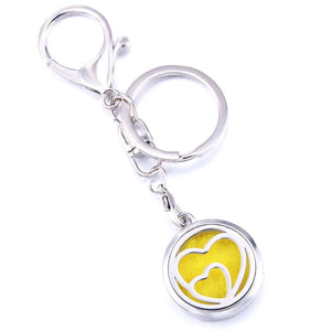 Essential Oil Key Ring Aromatherapy Heart in Heart Silver Keyring