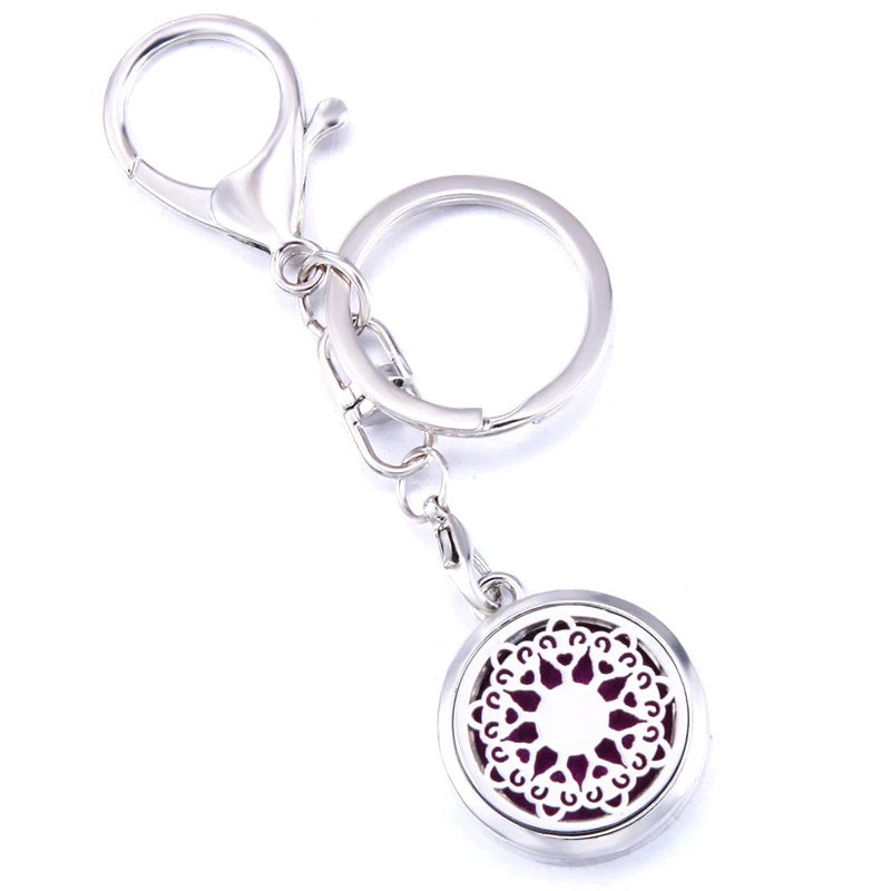Essential Oil Key Ring Aromatherapy Mandala Love Silver Keyring