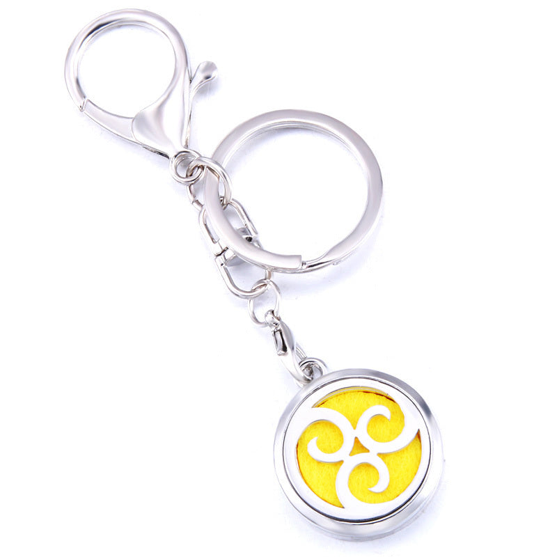 Essential Oil Key Ring Aromatherapy Big Swirls Silver Keyring