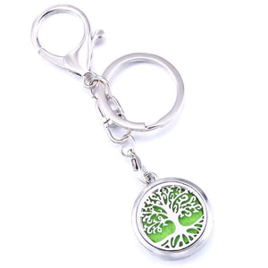 Essential Oil Key Ring Aromatherapy Tree of Life Silver Keyring